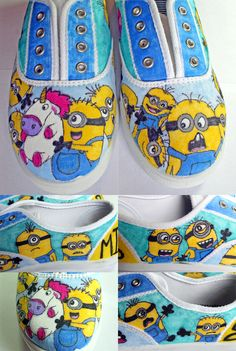 Custom Minion Shoes @LindsayMilgate - how cure r these?! I thought this was ur pin at first lol