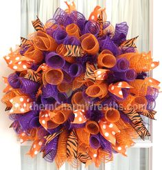 CLEMSON Tigers Deco Mesh Dorm Tailgating Wreath Orange Purple