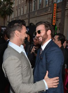 "Two of my favourites - Chris Evans and Frank Grillo - Premiere Of Marvel's ""Captain America: The Winter Soldier"" - Red Carpet"