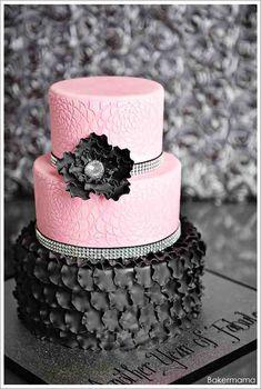 Pink & Black Wedding Cake black weddings, cake idea, cakes, food, glam pink, pink and black cake, birthday cake, parti, pink black