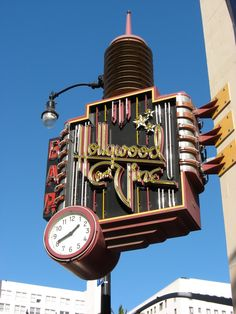 Hollywood and Vine Neon sign and clock! Art Deco!