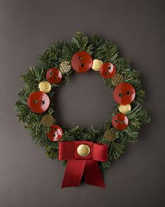 red and gold button wreath