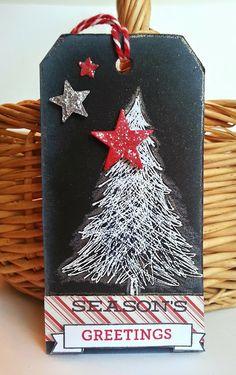 Gingham Girl christma card, black tag, hero arts christmas cards, christmas trees