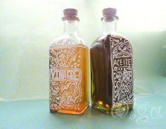 Cómo decorar una botella de cristal. ¡Facilísimo!... ACEITE, VINAGRE, VINO...