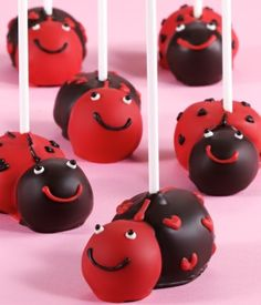 Chocolate Lady bug Cake Pops for a lady bug birthday party