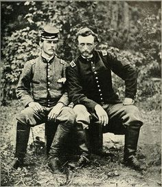 Lt. George A. Custer has photo taken with ex-classmate, friend and captured Confederate prisoner, Lt. J.B. Washington, aide to Gen. Johnston at Fair Oaks.