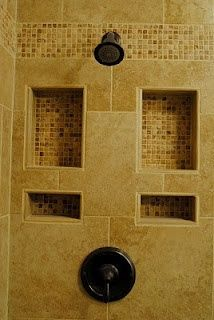 """Tiled Shower Cubbies~his and her sides  get rid of the clutter"" Perfect that this is behind the showerhead. It won't get super wet or melt bar soap too fast."