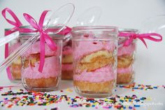 Birthday cake in a jar (cupcake cut and layered with frosting in a mason jar).  Fun for a party or as a gift.