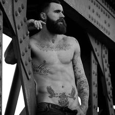 Chris Perceval - full thick dark beard and mustache beards bearded man men mens' style tattoos tattooed model male #beardsforever
