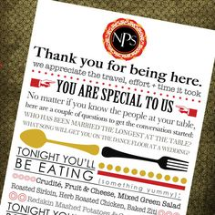 Printable Wedding Menu & Thank You // Unique by MaKenzieNoelle