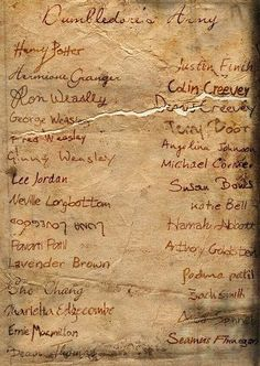 Dumbledore's Army. The fact that Luna signed her name upside down fills me with happiness. Because, of course Luna would sign her name upside down. Of course.