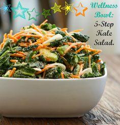 Kale salad with tahini dressing.