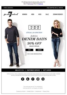 "7 For All Mankind used a countdown clock to show how much time was left until the end of the ""Fashion Denim Days"" sale. #emailmarketing #countdownclock #retail #realtime"