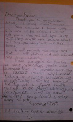 The most insane letter ever written by a child to a TV weatherman - with an awesome drawing on the back of the letter!