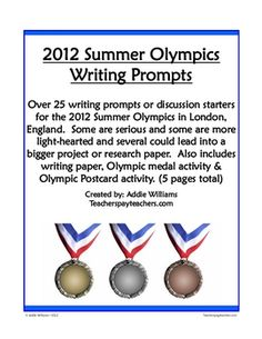 Over 25 writing prompts specific to the 2012 Summer Olympics in London, England this summer! Also includes 2 extra writing activities! ($)