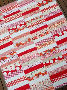 Red and white coin quilt