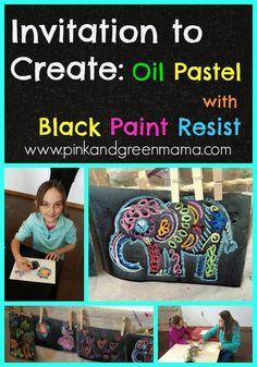 oil pastel with black paint resist