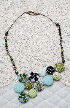 fabric covered button necklace SBS