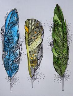 Zentangled feathers