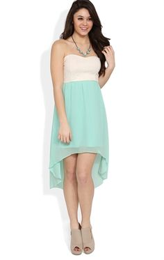 Deb Shops Strapless #Dress with #Lace Bodice and Open Bow Back with High Low Skirt $24.67