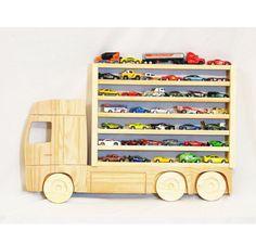 Wooden truck hanging storage shelf.