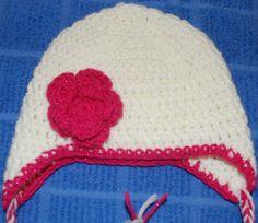Crochet Baby Earflap hat ~ free pattern