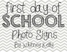 First Day of School Photo Set in Gray Chevron K-12 from Whitney Kelly ...