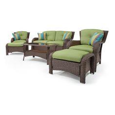 Sawyer  Piece Deep Seating Set Wicker Green By La Z Boy Outdoor