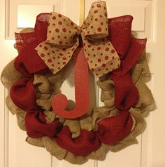 Burlap wreath with maroon / burgundy accents & initial
