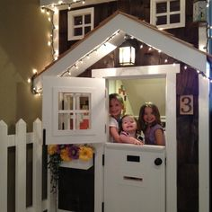 This dad turned wasted space under the basement stairs into a kid's fantasy playhouse complete with workable windows, lighting, window box and picket fence. | thisoldhouse.com/yourTOH