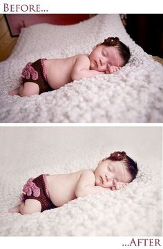"This entire Flickr stream is nothing but ""how-to's"" and tips for posing and editing newborn photos."
