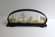 Antique Vintage Chinese cork 3D panorama landscape in black laquer frame. $42.00, via Etsy.