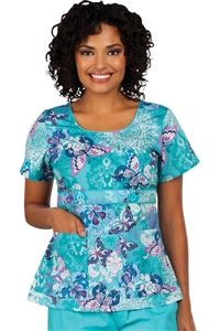 "Peaches Uniforms Betty Top in ""Spring Skies"" 4635-SPSK Betty Print Top #4635  100% Cotton  U neckline with piping detail  Belt detail with buttons  Roomy patch pockets  Length 26""  XS-3X  $22.50 #scrubs #scrubcouture #nurses"