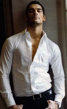 ♂ Masculine & elegance man's white fashion shirt male model David Gandy - nothing like a crisp white fitted shirt and dark jeans (contrasts works!)