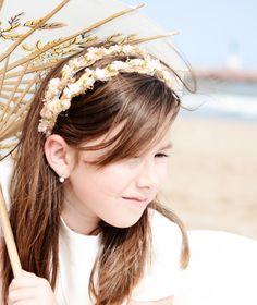 Diadema doble de flores secas y flores de papel color tostado para la, papel color, la cabeza, adorno para, primera comunión