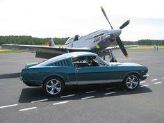 P-51 Mustang and Ford Mustang ride, car, wheel, mustangs, classic mustang, ford mustang, aircraft, p 51 mustang, p51 mustang