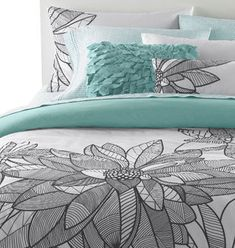 Bedding from Urban Barn decor, beds, color schemes, guest bedrooms, color combos, dream, colors, teal grey bedroom, guest rooms