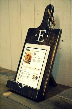 Wood iPad Stand Cutting Board Style Cookbook Holder on Etsy, $39.00