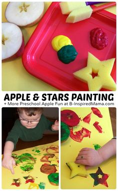 Easy Apple and Stars Painting + More Preschool Apple Fun at B-Inspired Mama #kids #preschool #apples #learning #kbn