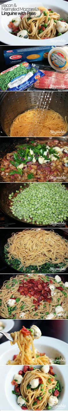 Bacon and Marinated Mozzarella Linguine with Peas #stepable #recipes
