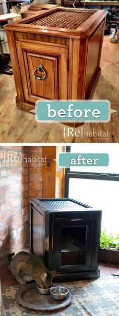 27 Useful DIY Solutions For Hiding The Litter Box - Upcycled Side Cabinet