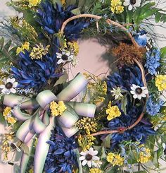 Extra Large Gorgeous Blue and Yellow Front Door by LadybugWreaths, $149.97
