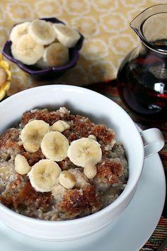 Overnight, Slow Cooker, Banana & Coconut Milk Steel-Cut Oatmeal