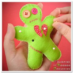 What you'll need ~  Felt in the colors of your choice (we used neon green and pink)  Embroidery floss in white and contrasting colors of choice (we used hot pink and orange)  Stuffing, i.e. polyester fiberfill  Scissors  Needle  Two buttons  Template for voodoo doll (I have provided a free downloadable template, but you can cut the shapes out freehand, too)  Freezer paper and permanent marker