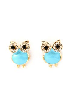 {Cool Turquoise Crystal Owl Earrings} eep! in blue, too! love these