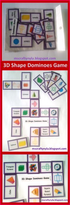 3D Shape Dominoes! #math #geometry #3D-shapes $