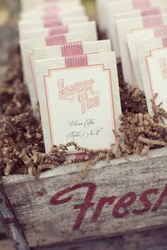 sweet tea escort cards by Southern Fried Paper