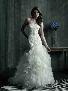 Allure Bridals : Couture Collection : Style C181 : Available colours : White/Silver, Ivory/Silver