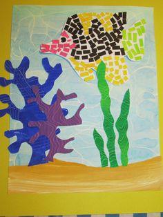 """3rd grade paper mosaic fish; 14"""" X 18""""; art teacher: Susan Joe"""
