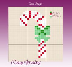 Christmas candy cane ornament perler bead pattern by aux 4 mains